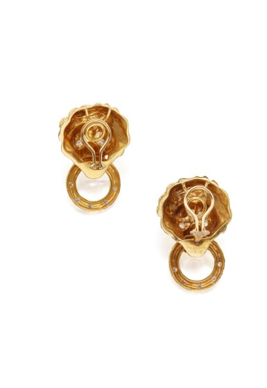 View 3. Thumbnail of Lot 21. PAIR OF GOLD AND DIAMOND EARCLIPS, VAN CLEEF & ARPELS.