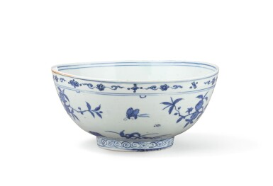 View 1. Thumbnail of Lot 375. A large blue and white 'rabbit' bowl, China, late Ming Dynasty, 16th-17th century.
