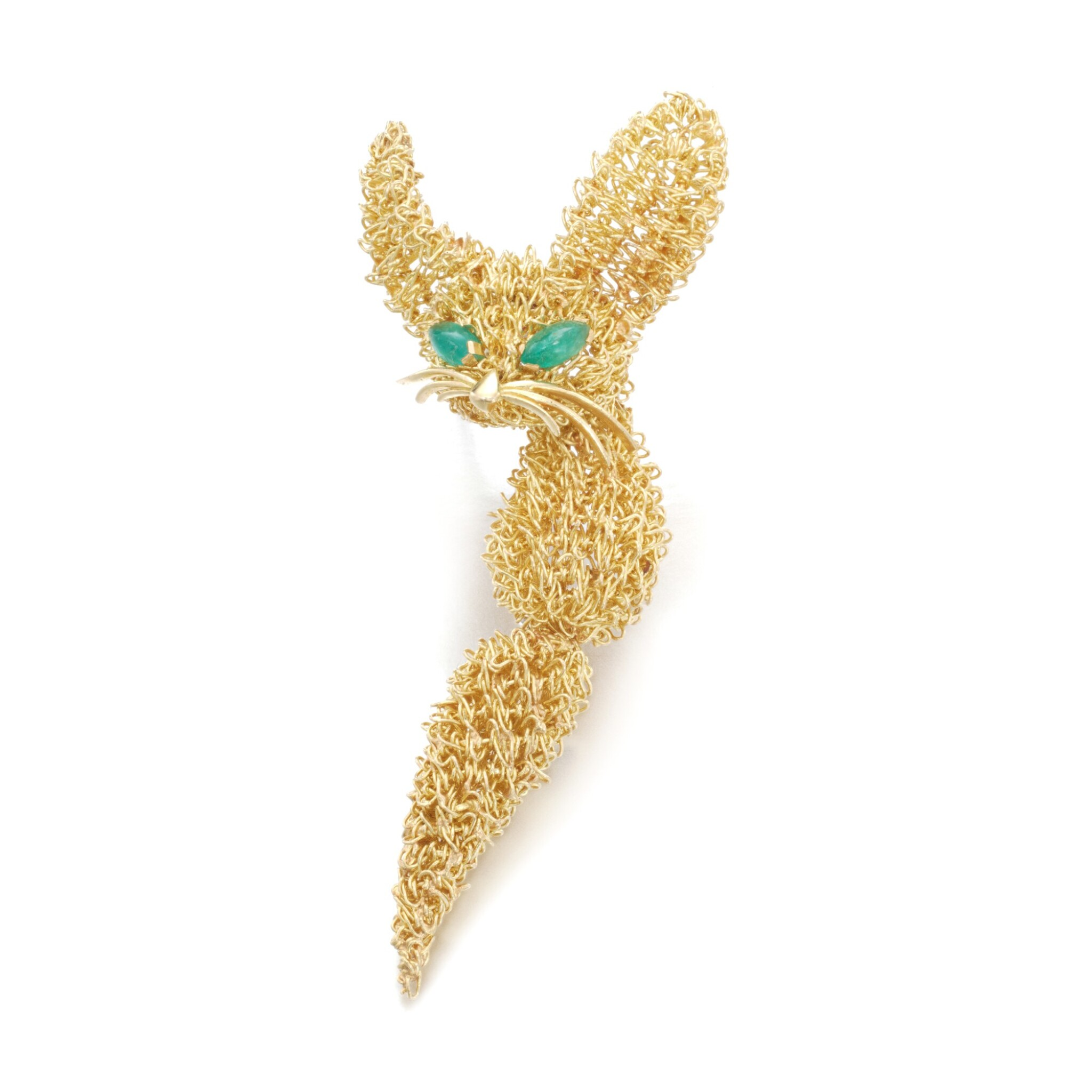 View full screen - View 1 of Lot 76. Gold and emerald brooch, circa 1965.