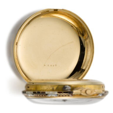 View 10. Thumbnail of Lot 293. EDOUARD JUVET, FLEURIER | A MATCHED PAIR OF FINE GOLD AND ENAMEL OPEN-FACED WATCHES MADE FOR THE CHINESE MARKET, CIRCA 1865, NO. 41981 AND 42308.
