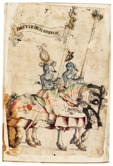 View 3. Thumbnail of Lot 9. WORKSHOP OF HANS BURGKMAIR THE ELDER | A 'TOURNAMENT BOOK', WITH 16 NUMBERED SHEETS OF DRAWINGS OF KNIGHTS, MOSTLY ON HORSEBACK, IN PAIRS .