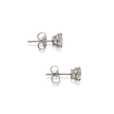 View 2. Thumbnail of Lot 407. Pair of Diamond Earstuds.