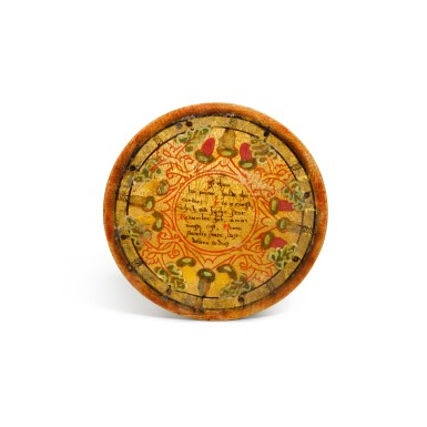 View 12. Thumbnail of Lot 1. A set of twelve Elizabethan polychrome decorated sycamore roundels, late 16th/early 17th century.