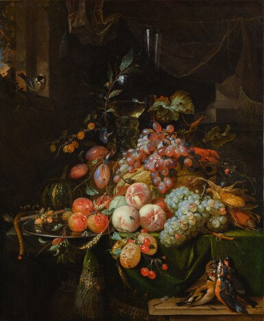 View 1. Thumbnail of Lot 60. ABRAHAM MIGNON  |  STILL LIFE WITH PLUMS, PEACHES, APRICOTS, GRAPES AND A MELON, WITH A ROEMER GLASS AND A FLUTE GLASS, ALL ON A DRAPED TABLE, A GOLDFINCH ON THE WINDOW SILL AND A BRACE OF SONGBIRDS.