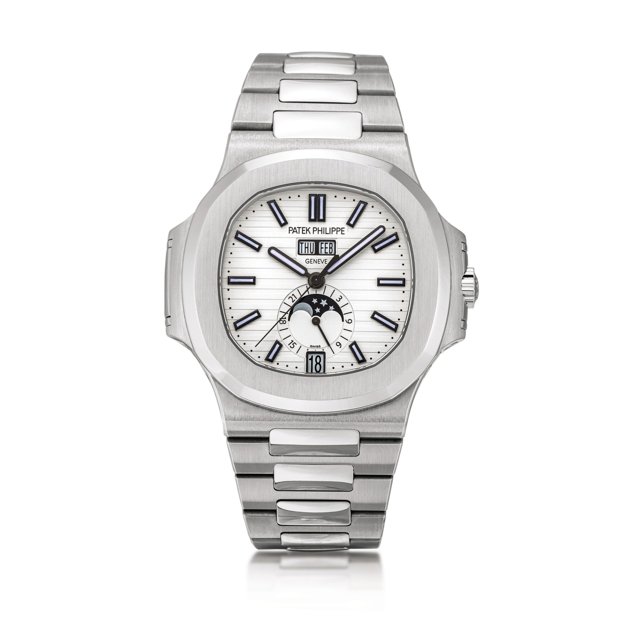 View full screen - View 1 of Lot 2098. Patek Philippe | Nautilus, Reference 5726, A stainless steel annual calendar bracelet watch with moon phases and 24 hours indication, Circa 2019 | 百達翡麗 | Nautilus 型號5726   精鋼年曆鏈帶腕錶,備月相及24小時顯示,約2019年製.