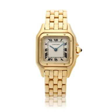 View 1. Thumbnail of Lot 23. Panthère  A yellow gold square shaped wristwatch with bracelet, Circa 1995 .