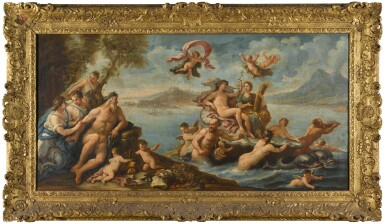 View 4. Thumbnail of Lot 9. CIRCLE OF PAOLO DE' MATTEIS | AN ALLEGORY OF PROSPERITY AND THE ARTS IN THE CITY OF NAPLES; AND TRIUMPH OF GALATEA WITH A VIEW OF MESSINA BEYOND, AND A PORTRAIT OF CHARLES VI (1685-1740), HOLY ROMAN EMPEROR, HELD ALOFT BY VICTORY.