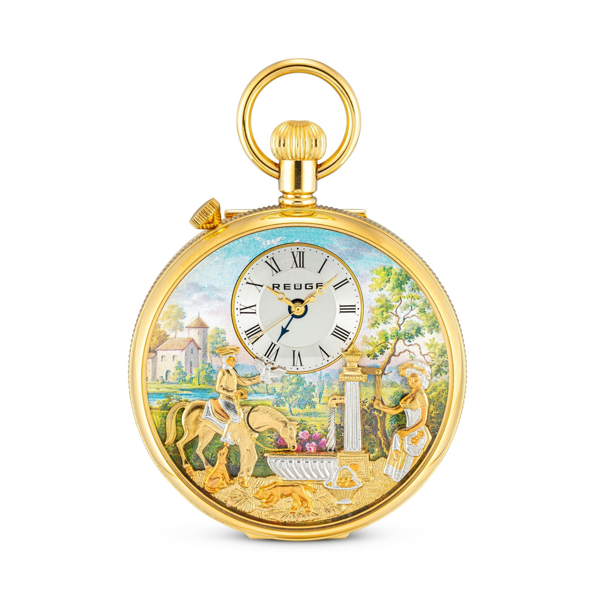 View full screen - View 1 of Lot 868. CHARLES REUGE   THE FOUNTAIN A GOLD PLATED OPENFACE WATCH WITH MUSICAL AUTOMATON AND ALARM, CIRCA 2010.