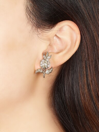 View 2. Thumbnail of Lot 1410. ELIANE FATTAL   'FERN' PAIR OF DIAMOND EARRINGS   Eliane Fattal   'Fern' 鑽石耳環一對.