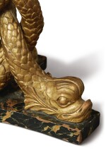 A REGENCY REVIVAL GILTWOOD AND SIMULATED MARBLE DOLPHIN GUERIDON, EARLY 20TH CENTURY
