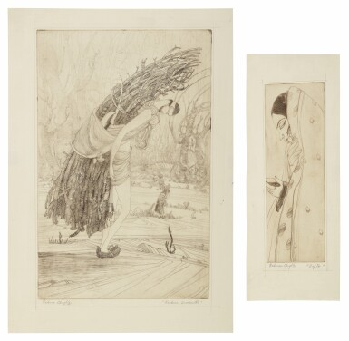 View full screen - View 1 of Lot 1802. ABDUR RAHMAN CHUGHTAI | KASHMIRI WOODCUTTER; DUPTA (SIC).