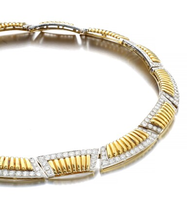 View 2. Thumbnail of Lot 1177. Gold and diamond necklace.
