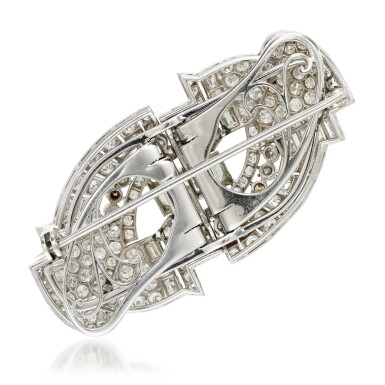 View 4. Thumbnail of Lot 23. Diamond double-clip brooch, 1930s.