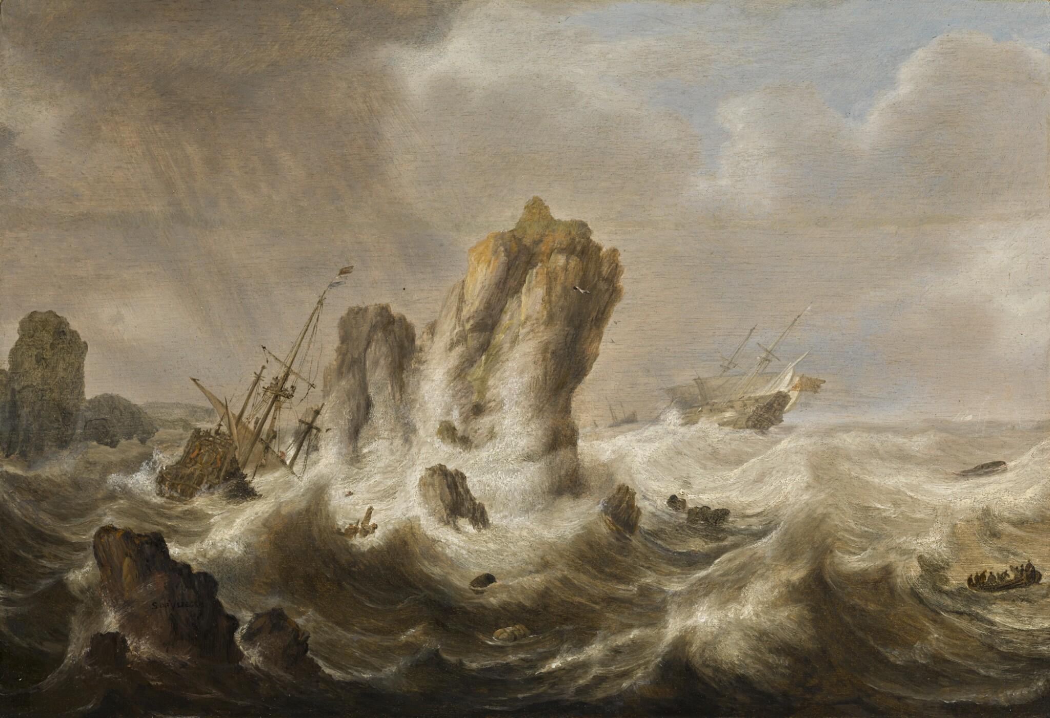 View full screen - View 1 of Lot 40. SIMON JACOBSZ. DE VLIEGER   A shipwreck.