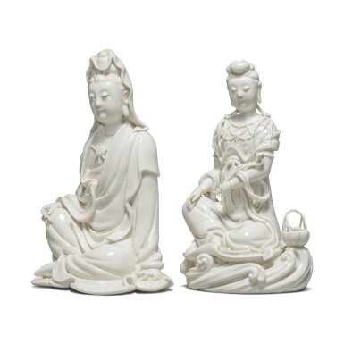 View 4. Thumbnail of Lot 39. Two 'Dehua' figures of seated Guanyin, 20th century.