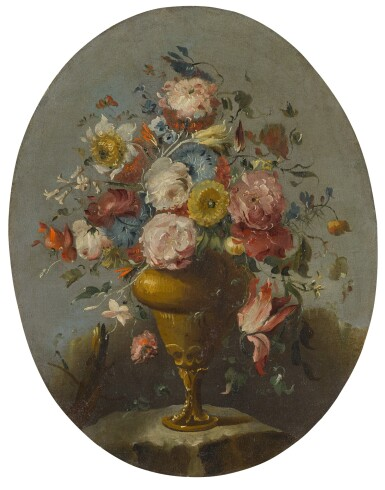 View 3. Thumbnail of Lot 648. A pair of still lifes of roses, anemones, and other flowers in bronze urns, resting on stone ledges.