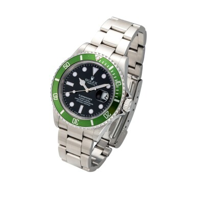 View 2. Thumbnail of Lot 5. 'Kermit Flat 4' Submariner, Ref. 16610T Stainless steel wristwatch with date and bracelet Circa 2004 | 勞力士16610T型號「'Kermit Flat 4' Submariner」精鋼鍊帶腕錶備日期顯示,年份約2004.