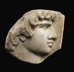 A MARBLE RELIEF FRAGMENT OF ANTINOUS, 19TH CENTURY, OR EARLIER