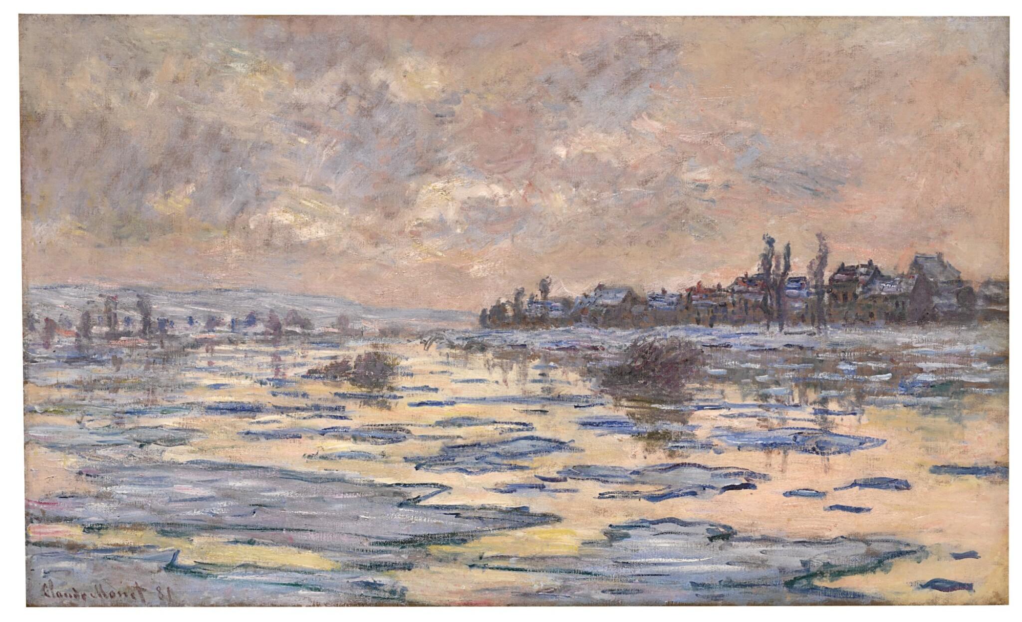 View full screen - View 1 of Lot 1008. La Seine à Lavacourt, débâcle.