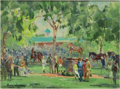 View 1. Thumbnail of Lot 3. PETER WILLIAMS | VIEW OF THE PADDOCK, AT BELMONT PARK.