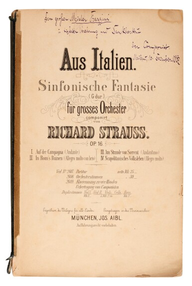 R. Strauss. Eight first and early editions, five signed and inscribed by the composer, 1887-1927