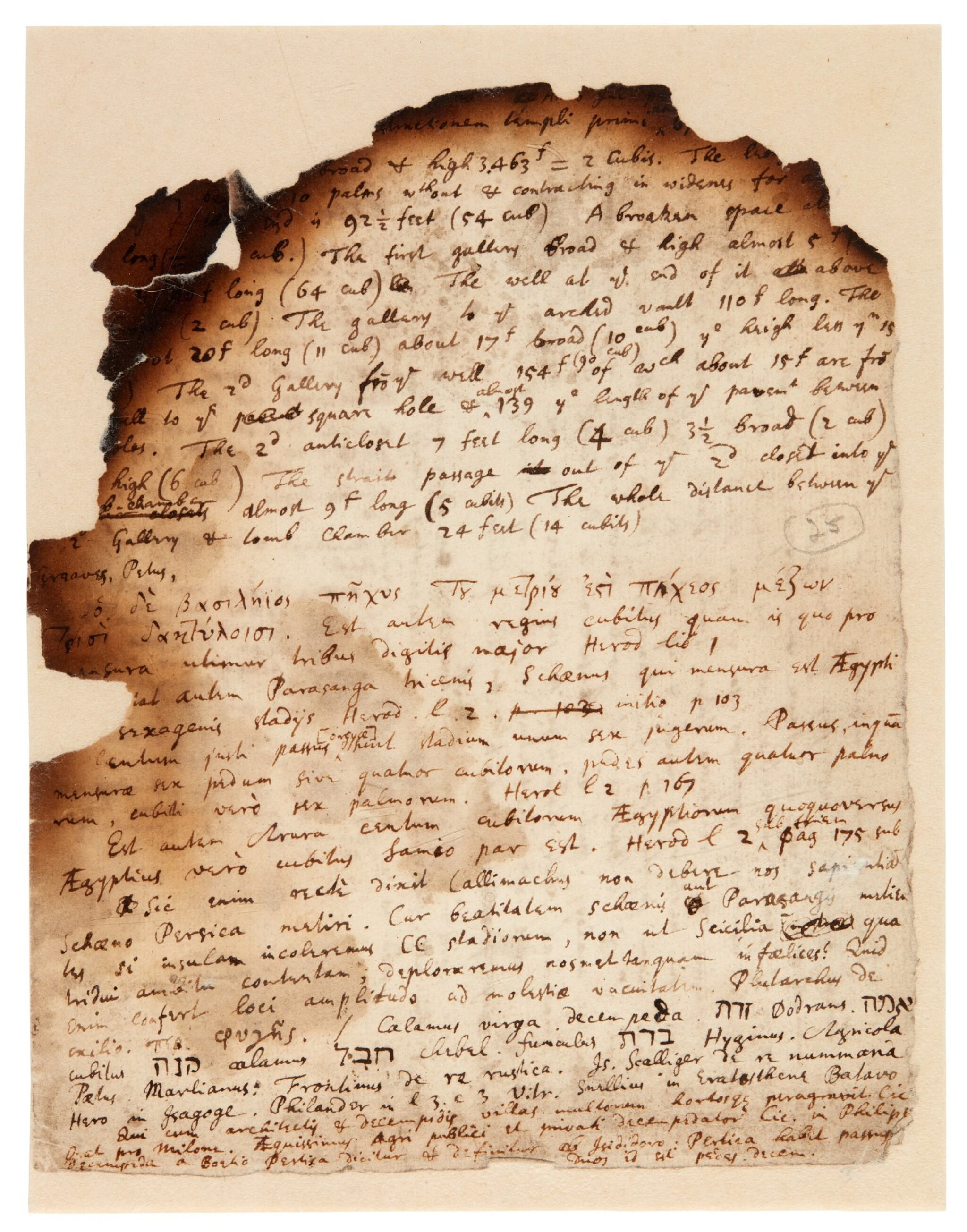 View full screen - View 1 of Lot 61. NEWTON | Autograph manuscript notes on the Great Pyramid of Egypt, c. 1680s.