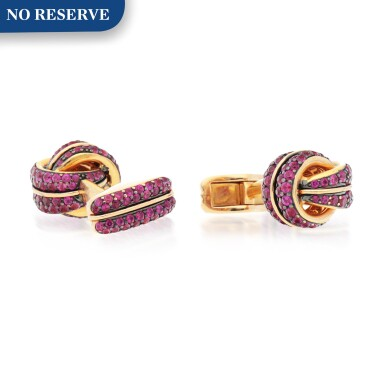 View 1. Thumbnail of Lot 425. PAIR OF RUBY CUFFLINKS.