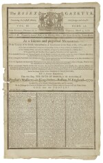 (BOSTON MASSACRE) | First Anniversary Commemoration of the Boston Massacre in The Essex Gazette, Vol. III, No. 136. Salem: Printed by Samuel Hall, February 26-March 5, 1771