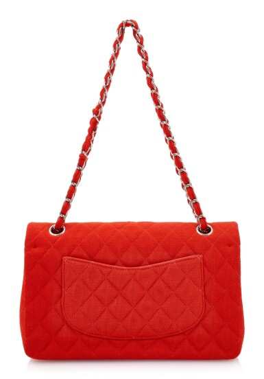 View 2. Thumbnail of Lot 150. RED JERSEY AND SILVER-TONE METAL CLASSIC SHOULDER BAG, CHANEL.