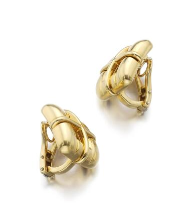 PAIR OF GOLD EAR CLIPS   BISCAYNE, TIFFANY & CO., 2001