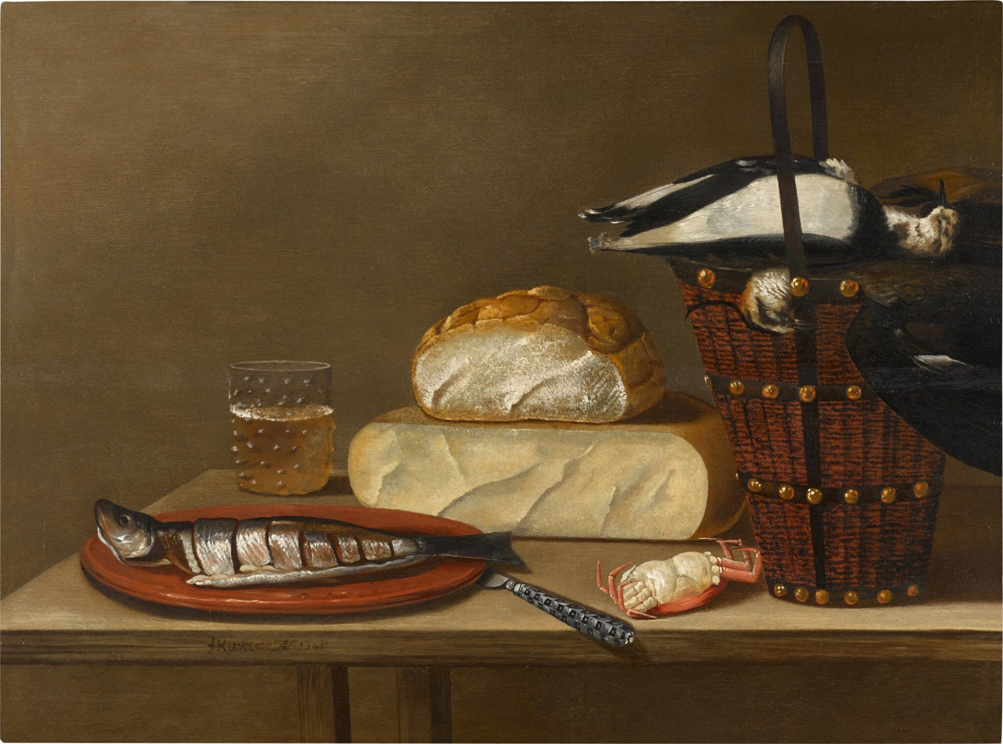 View full screen - View 1 of Lot 61. Still life with a herring, cheese, crab and songbirds.
