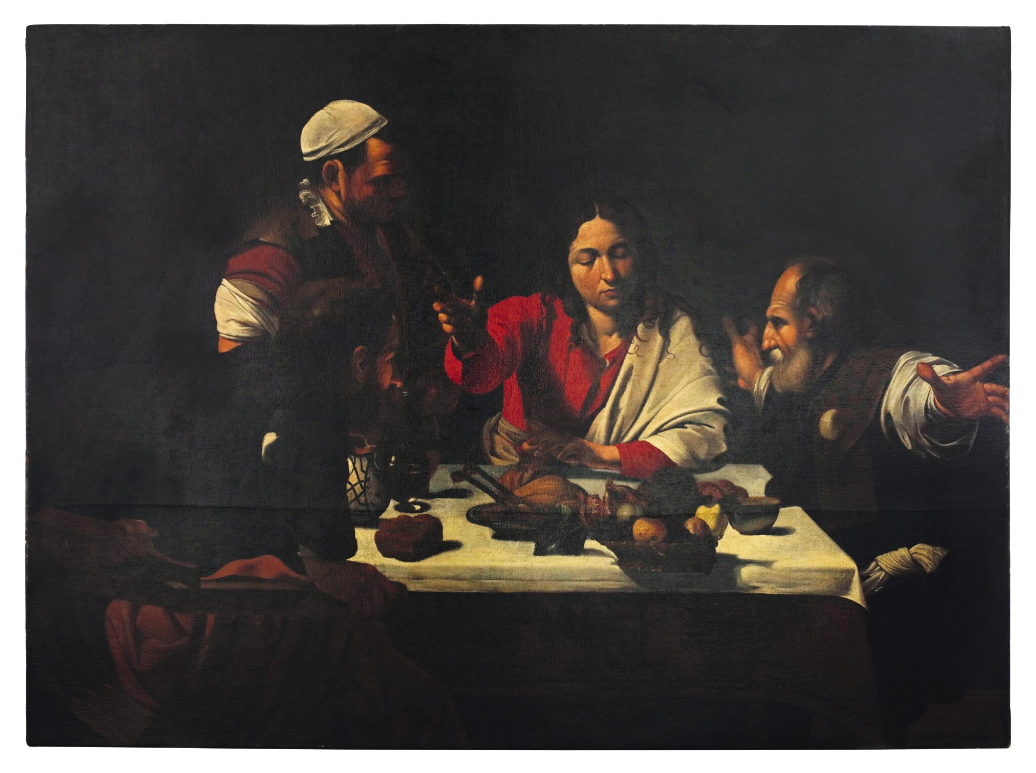View full screen - View 1 of Lot 32. Sold Without Reserve   AFTER MICHELANGELO MERISI, CALLED CARAVAGGIO   SUPPER AT EMMAUS .