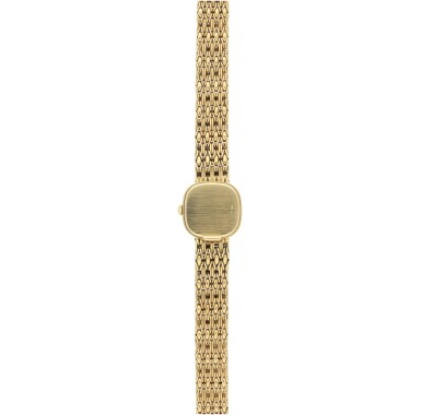 View 7. Thumbnail of Lot 57.  PATEK PHILIPPE | REFERENCE 4712/1 A YELLOW GOLD AND DIAMOND-SET SQUARE BRACELET WATCH, MADE IN 1987.