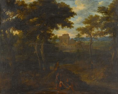 View 1. Thumbnail of Lot 166. A classical landscape with figures in the foreground, a castle beyond.