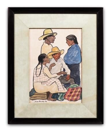 View 2. Thumbnail of Lot 52. Grupo en el mercado: dos hombres y dos mujeres.