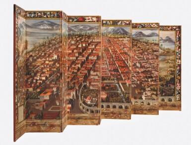 View 6. Thumbnail of Lot 1. ANONYMOUS, MEXICAN SCHOOL (17TH CENTURY) | BIOMBO DE LA CONQUISTA DE MÉXICO Y VISTA DE LA CIUDAD DE MÉXICO.