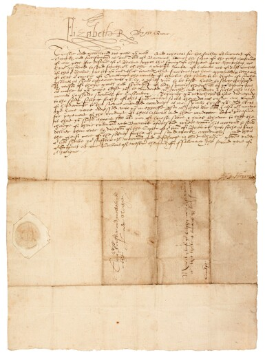 View 1. Thumbnail of Lot 44. ELIZABETH I | early letter signed, to Edward North, First Baron North, 1560.