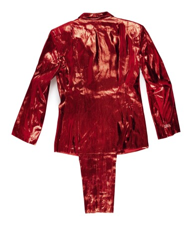 """View 2. Thumbnail of Lot 97. DR. DRE'S SHINY RED WORLD CLASS WRECKIN' CRU """"RAPPED IN ROMANCE"""" SUIT, CA 1985-86."""