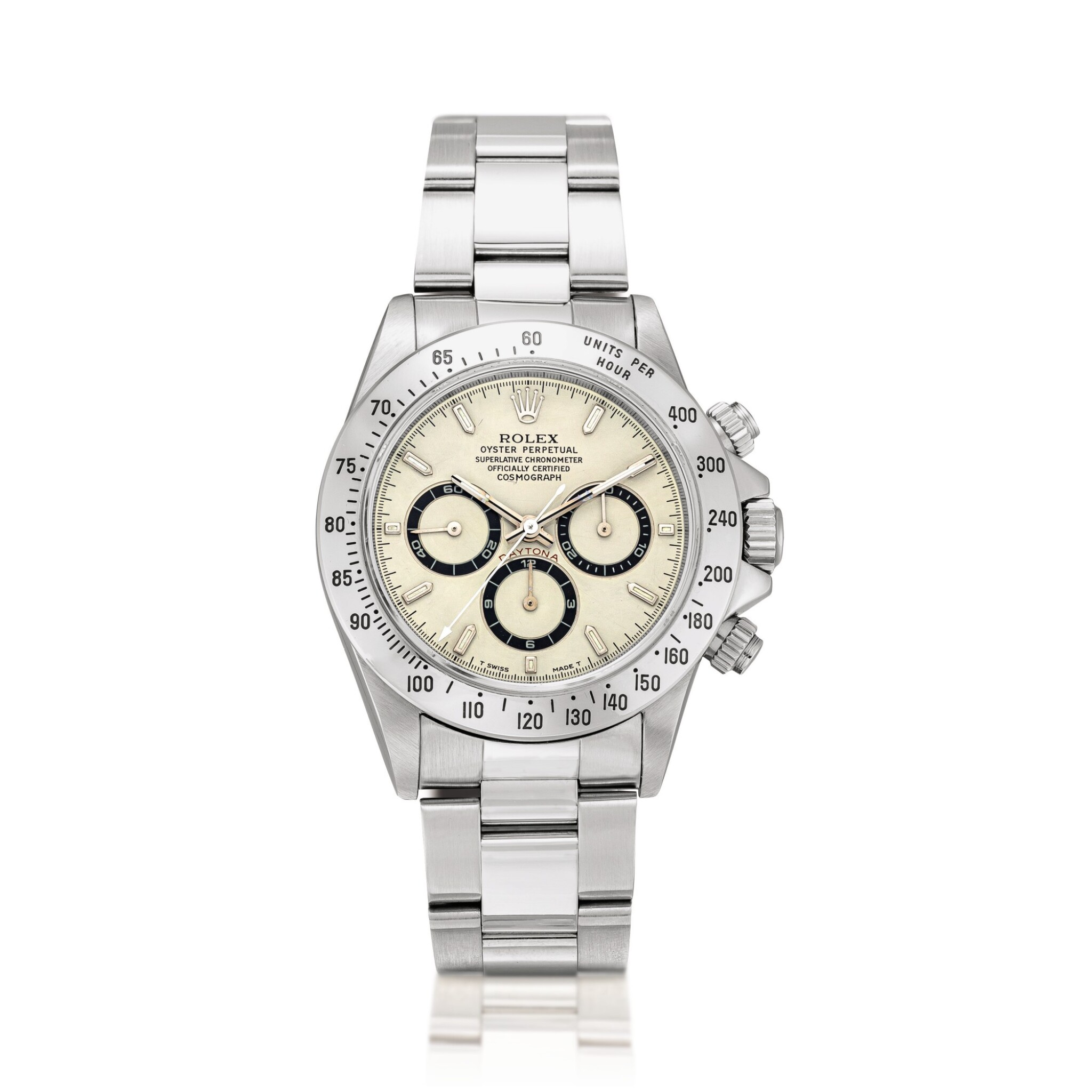 View full screen - View 1 of Lot 2152. Rolex | Cosmograph Daytona, Reference 16520, A highly unusual stainless steel chronograph wristwatch with highly unusual dial and bracelet, Circa 1995 | 勞力士 | Cosmograph Daytona 型號16520  非常罕有精鋼計時鏈帶腕錶,備罕有錶盤,約1995年製.