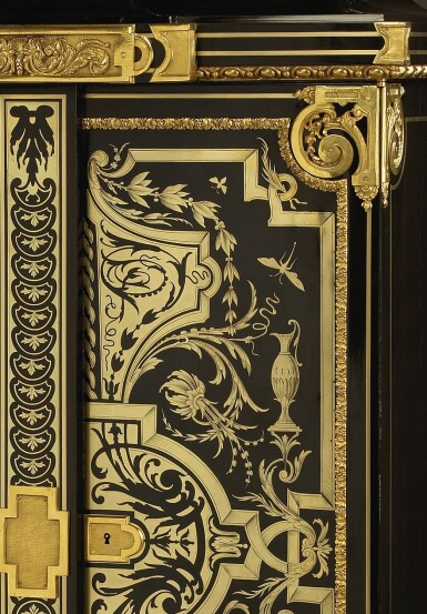 View 4. Thumbnail of Lot 31. A LOUIS XIV STYLE GILT-BRONZE MOUNTED, EBONY AND BRASS BOULLE MARQUETRY SMALL ARMOIRE, BY JOSEPH CREMER, CIRCA 1860.