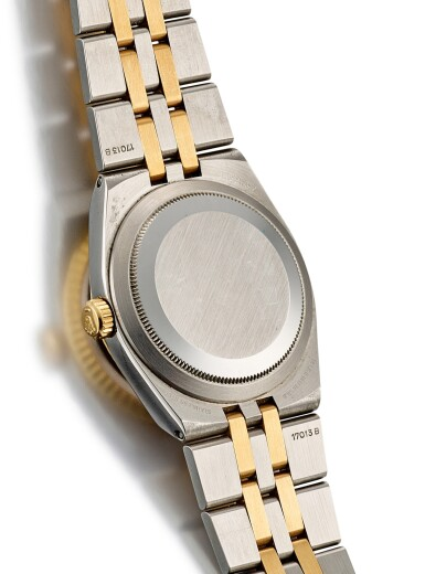 View 3. Thumbnail of Lot 8063. ROLEX   DATEJUST, REFERENCE 17013, A YELLOW GOLD, STAINLESS STEEL AND DIAMOND-SET WRISTWATCH WITH BRACELET, CIRCA 1986.