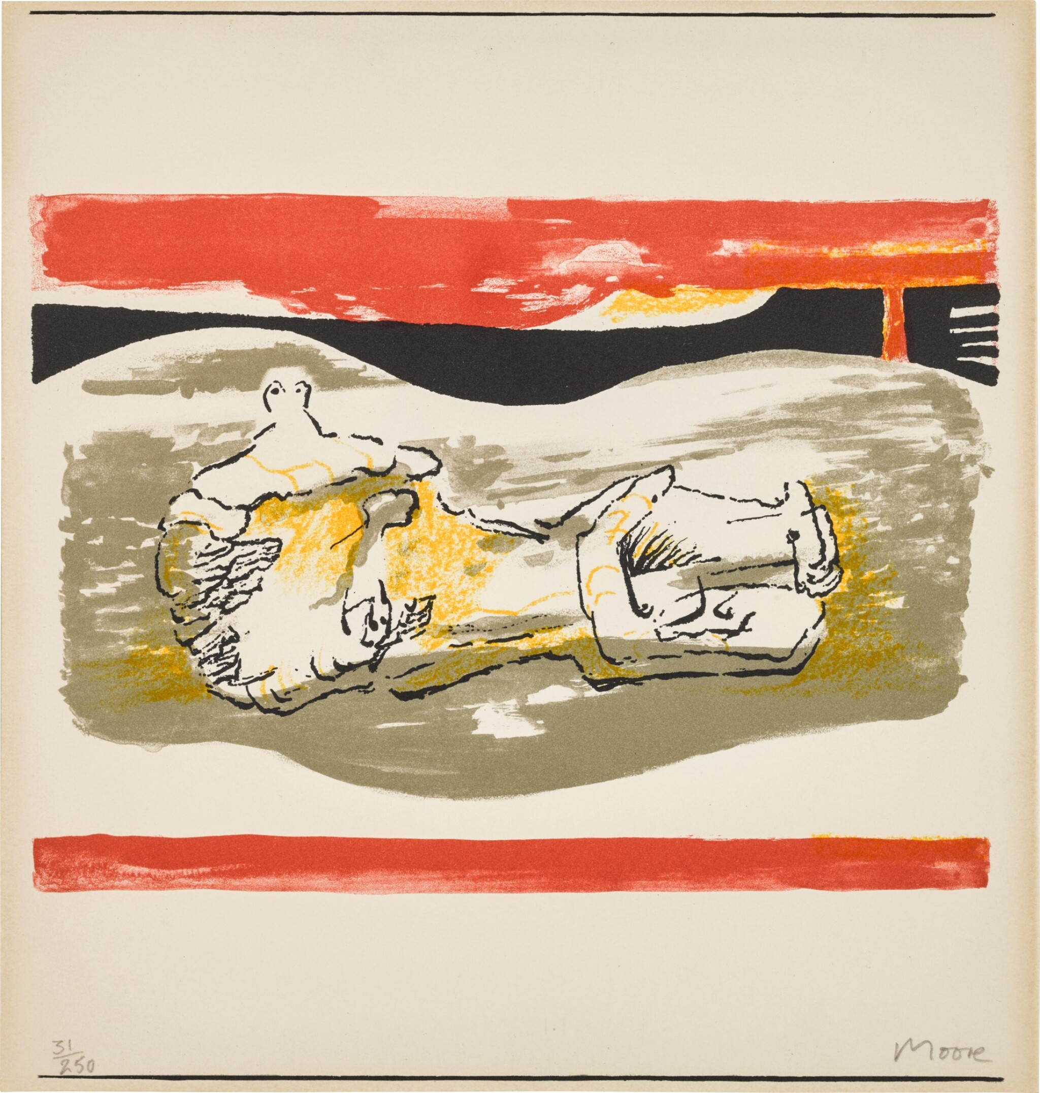 View full screen - View 1 of Lot 157. Reclining figure with red stripes (Cramer 291).