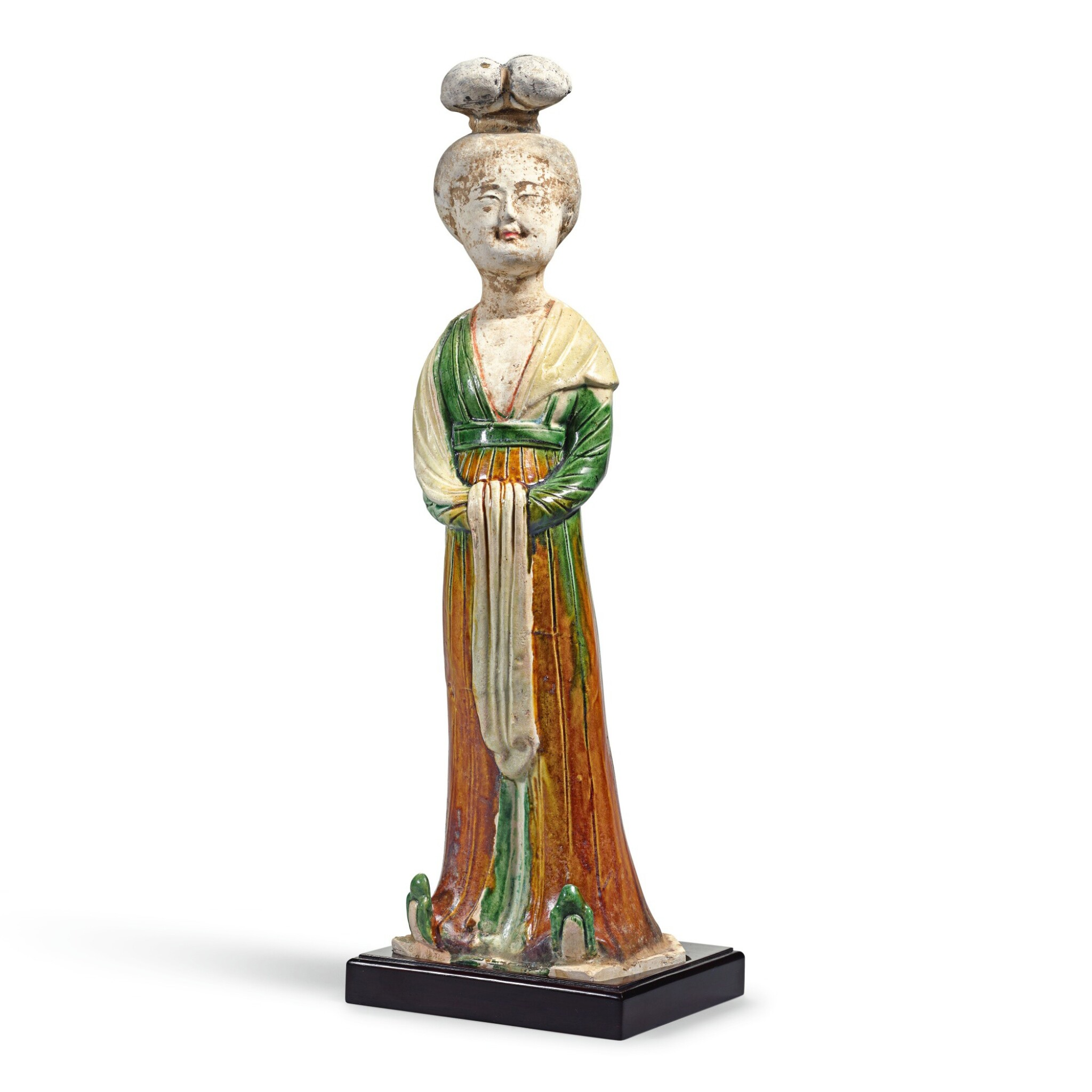 View full screen - View 1 of Lot 210. A SANCAI-GLAZED FIGURE OF A COURT LADY TANG DYNASTY | 唐 三彩仕女立像.