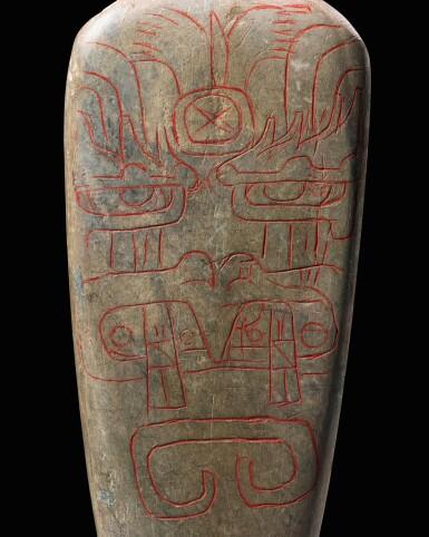 View 2. Thumbnail of Lot 5. Lame de hache, Culture Olmèque, Préclassique Moyen, 900-600 AV. J.-C.   Olmec incised celt, Middle Preclassic, 900-600 BC.