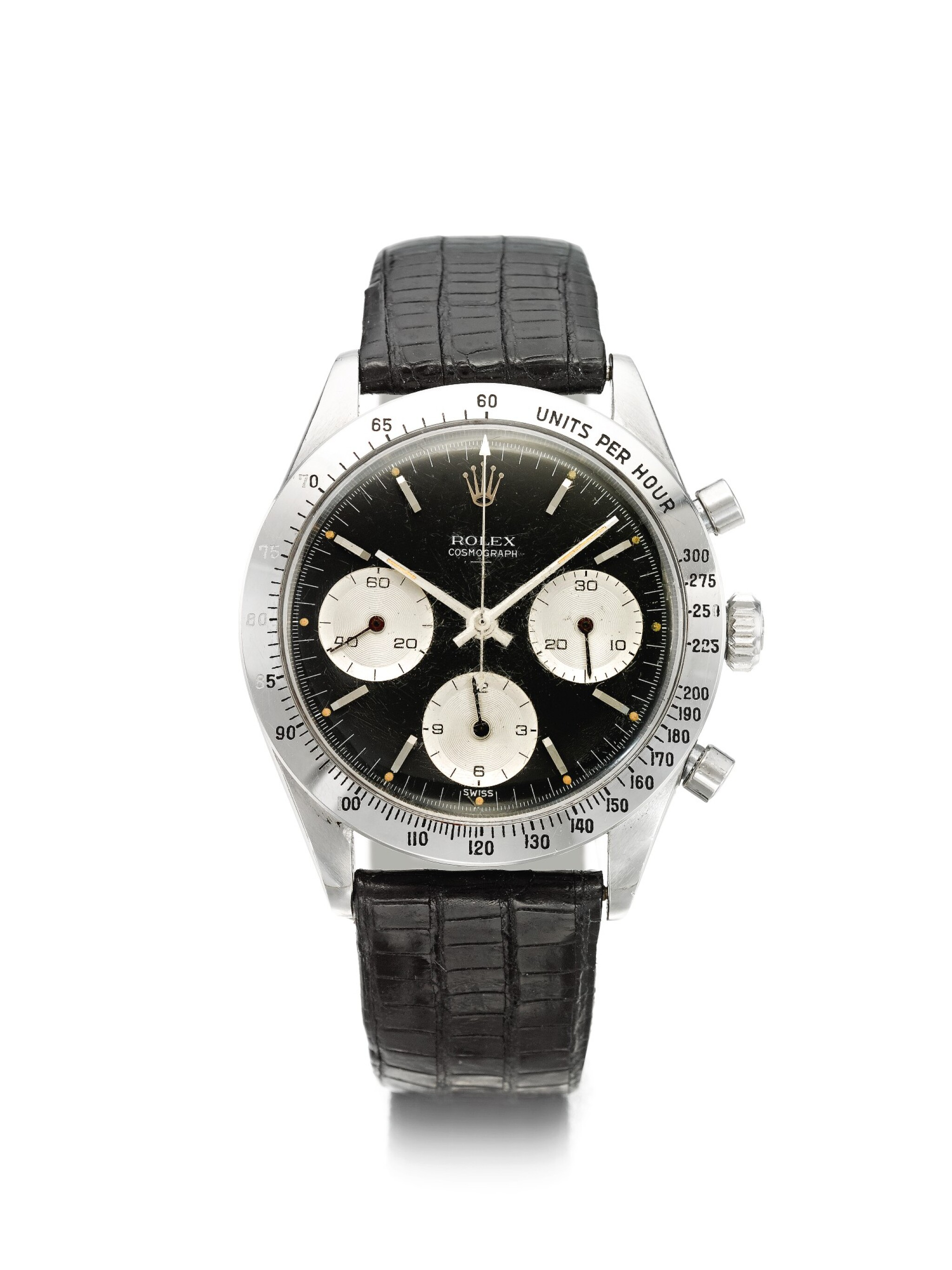 View full screen - View 1 of Lot 4. ROLEX | REFERENCE 6239 'DOUBLE SWISS UNDERLINE' DAYTONA  A RARE STAINLESS STEEL CHRONOGRAPH WRISTWATCH WITH REGISTERS, CIRCA 1963.