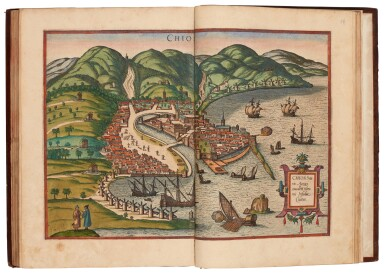 View 6. Thumbnail of Lot 41. Georg Braun und Franz Hogenberg | Civitates orbis terrarum. Cologne, 1597-c.1606, 5 volumes, hand-coloured, calf.