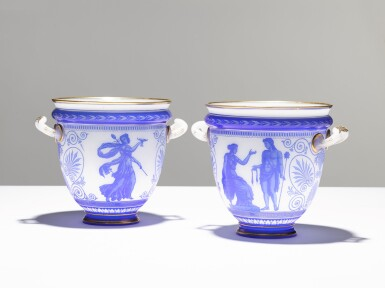 View 1. Thumbnail of Lot 92. A PAIR OF CAMEO GLASS VASES BY LA COMPAGNIE DES CRISTALLERIES DE BACCARAT, CIRCA 1865.