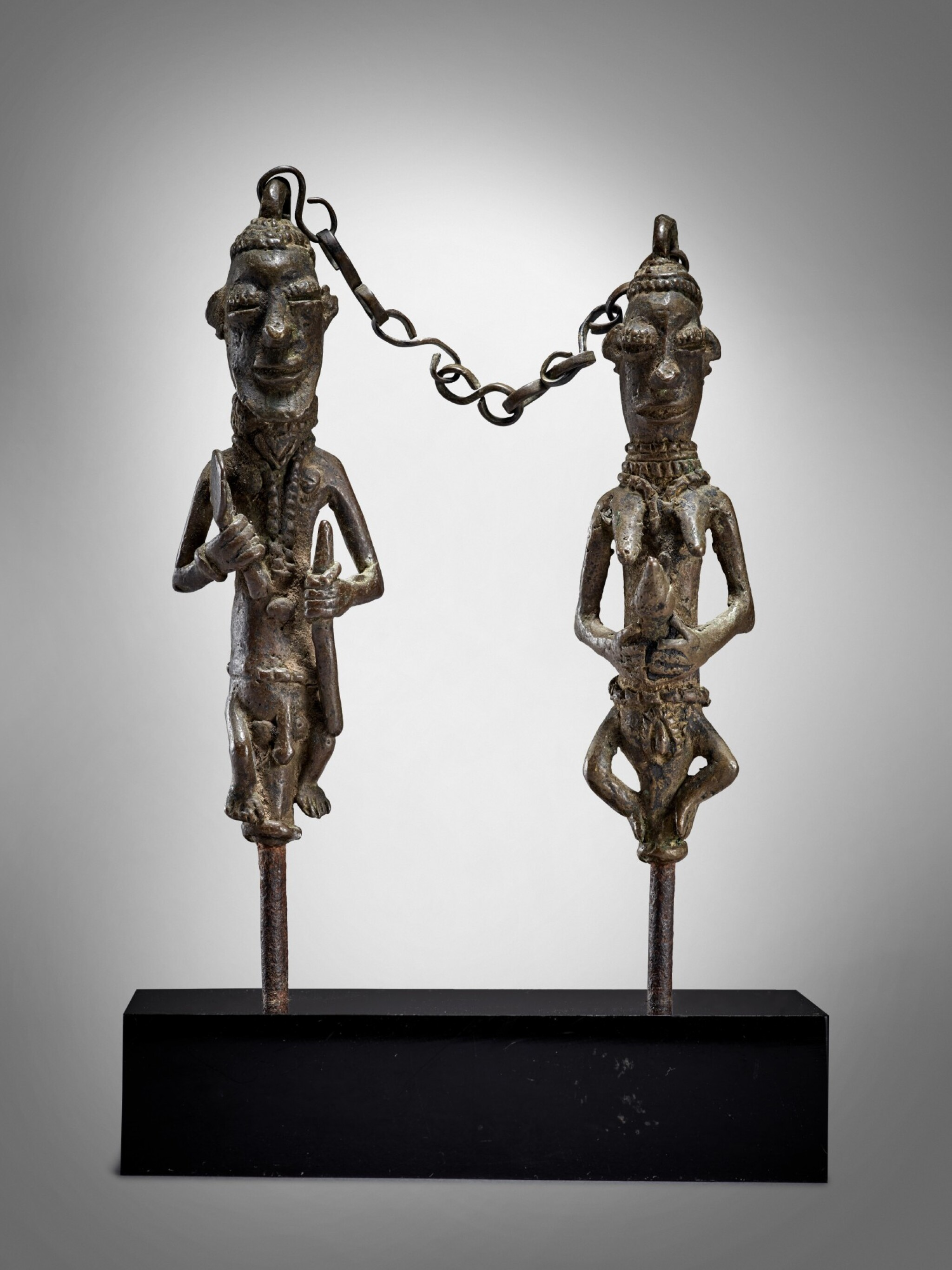 View full screen - View 1 of Lot 71. Pair of Yoruba Ogboni Edan Figures, Nigeria.