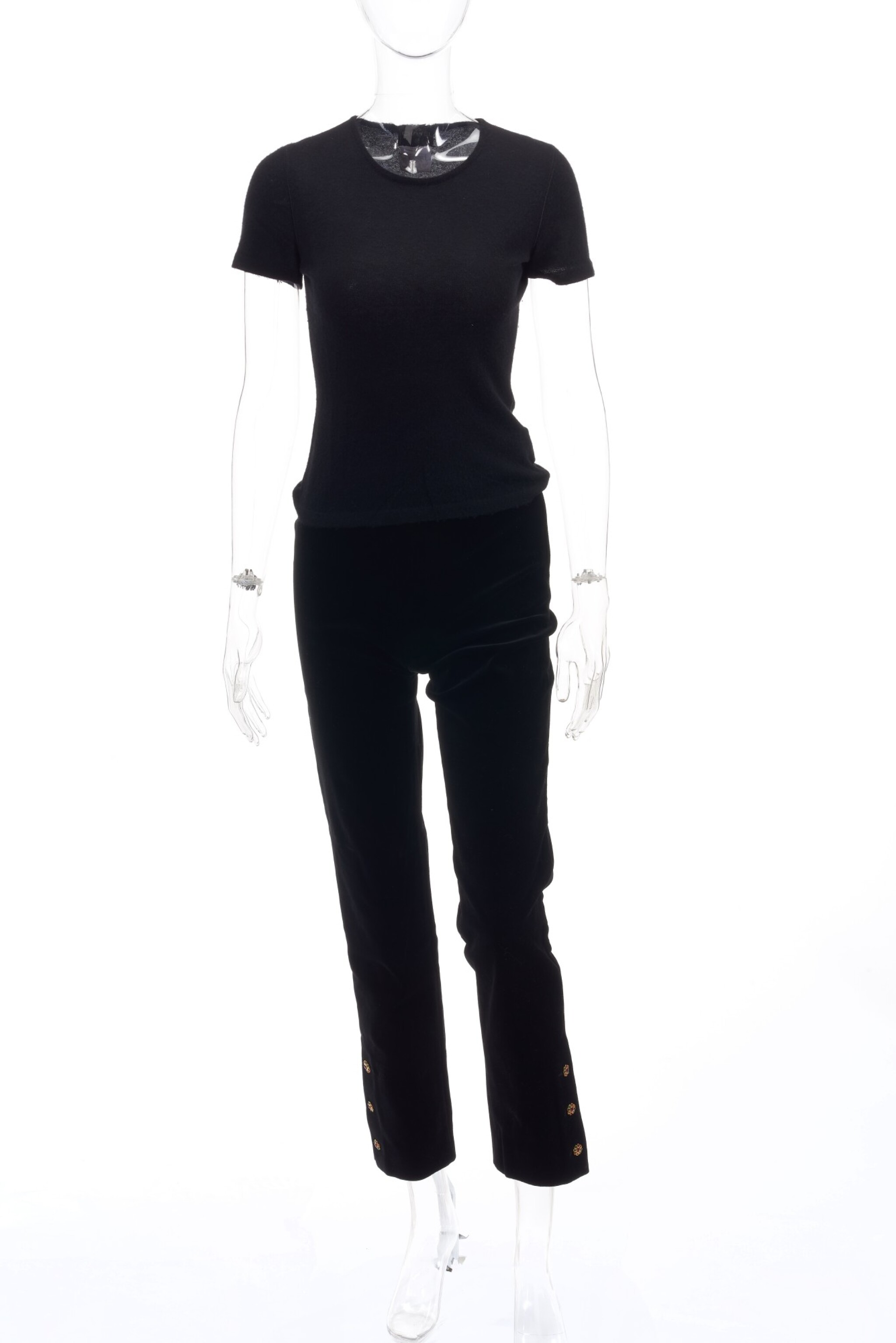 Black cashmere sweater and black velvet trousers