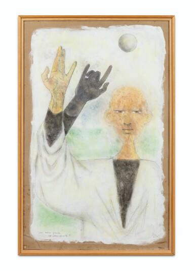 """View 2. Thumbnail of Lot 32. JEAN COCTEAU. Astrologue. Une main gauche est elle adroite ? 1954.Technique mixte, signée """"Jean"""", 1954, titrée par Cocteau."""